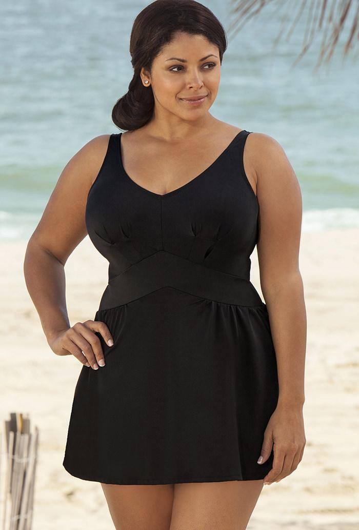 Womens Plus Size V-Neck Swimdress Slim Bikini Bathing Swimsuit Beach Swimwear
